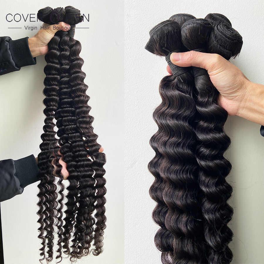 30 32 34 36 38 40 Polegada feixes de tecer cabelo brasileiro encaracolado 100% feixes de cabelo humano cor natural onda profunda extensões do cabelo remy
