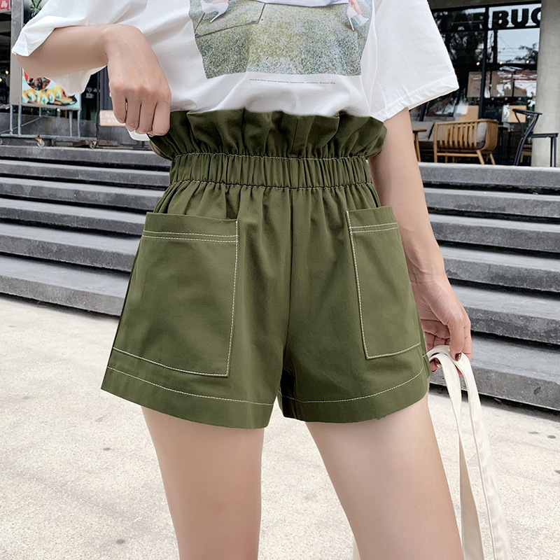 2020 New Casual High Waist Loose Loose Slim Waist Wide Leg Shorts Women