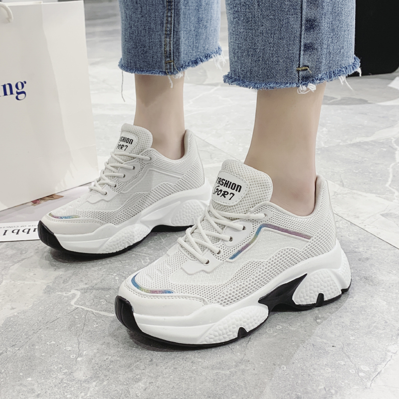 2020 Spring Platform Chunky Sneakers Wedge Shoes For Women INS Fashion Female Breathable Lace Up Casual Shoes Vulcanized Shoes