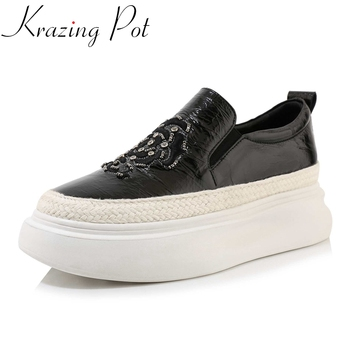 Krazing Pot new genuine leather round toe summer slip on shoes women embroidery flower rhinestone sneakers vulcanized shoes L70