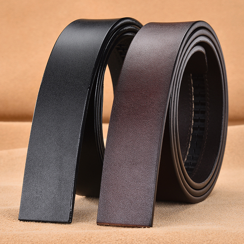 Cowhide Leather Belt No Buckle For Men's Automatic Buckle Belt Without Buckle Fashion Genuine Leather Belt  No Buckle 3.5cm