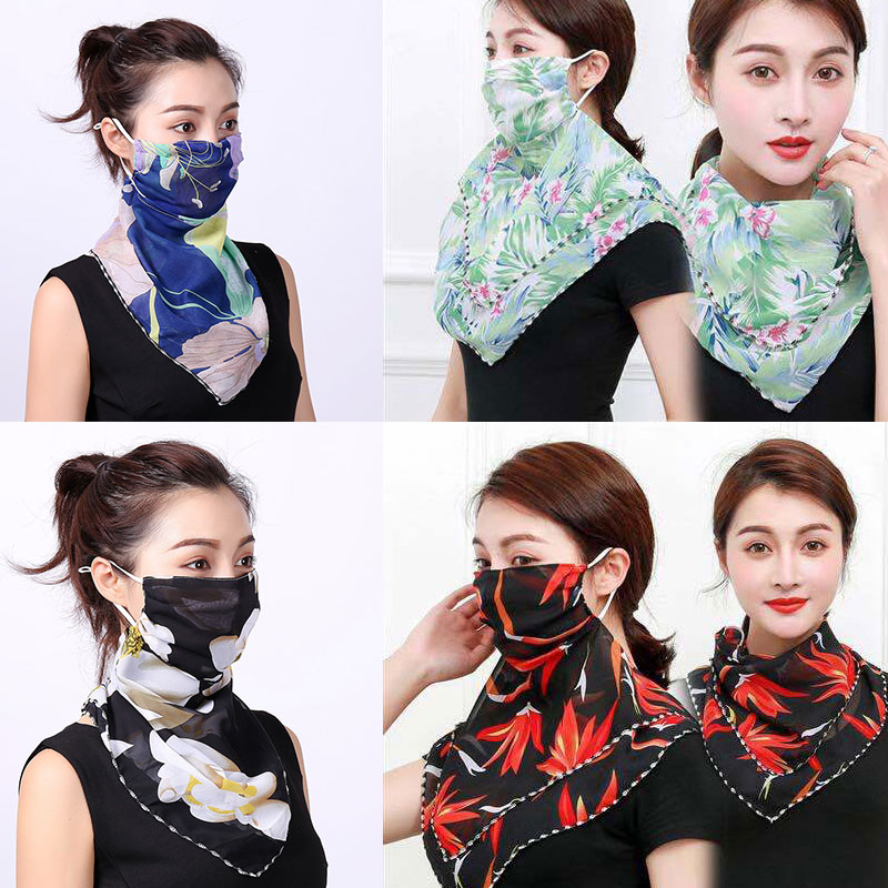 Chiffon Face Mask Women Sun Protection Scarves Neck 2020 New Cover Solid Print Lady Hiking Riding Mouth Scarf Ring Wraps