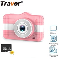 TRAVOR-Mini cámara para niños, HD, 1080P, 3,5 pulgadas, cámara de foto de niños, grabadora de vídeo, juguetes con tarjeta TF de 32 GB para regalo de cumpleaños