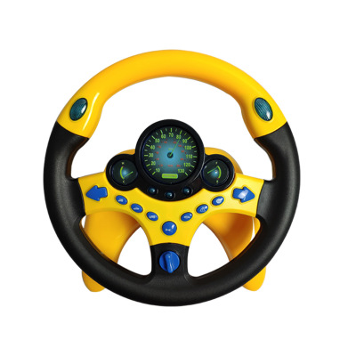 Children'S Simulation Copilot Steering Wheel Toys Acousto-Optic Music Interest Cultivation Plastic Chinese And English Toys