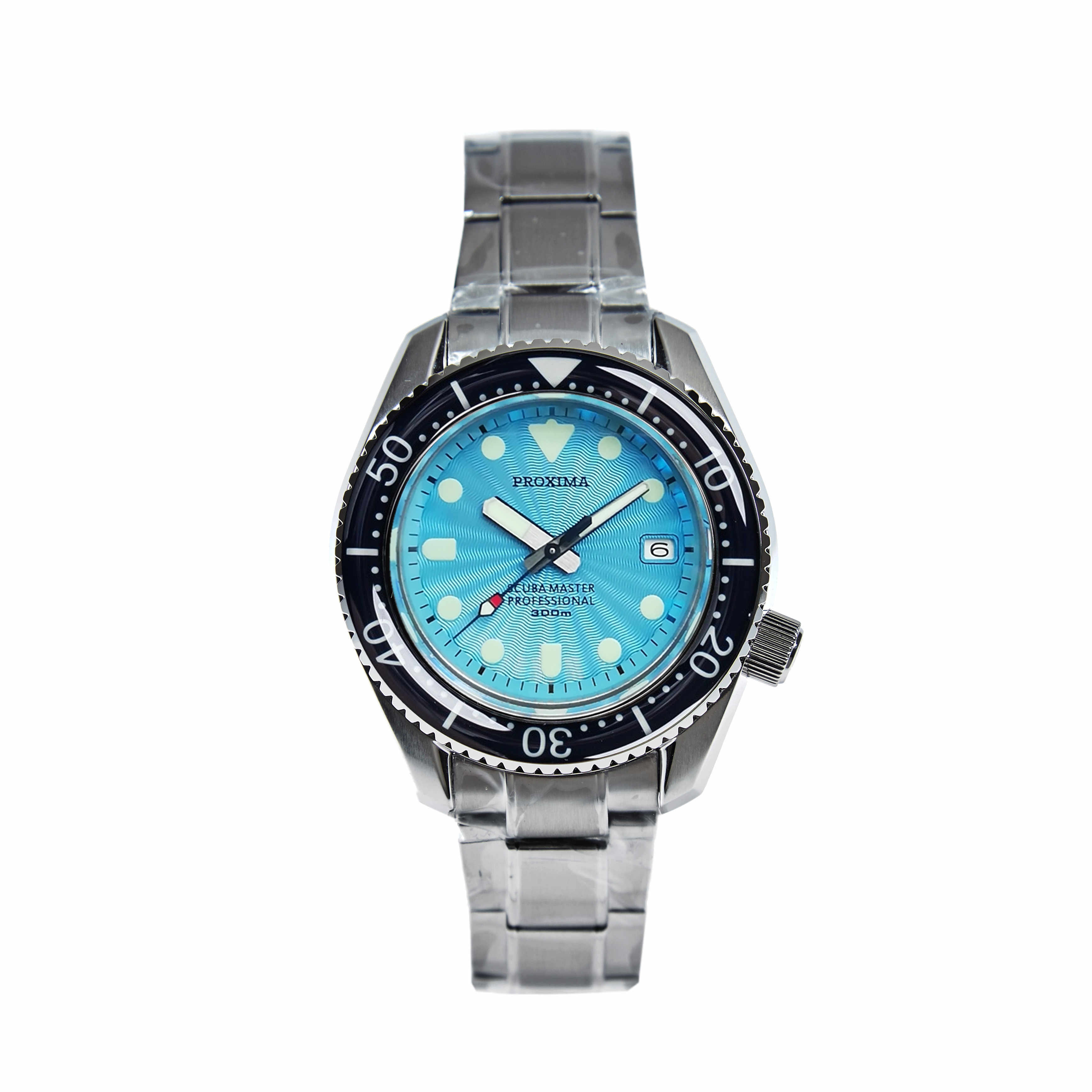 Proxima SBDX001 NH35 マグロダイバー自動腕時計 MarineMaste 波ブルーダイヤル V1
