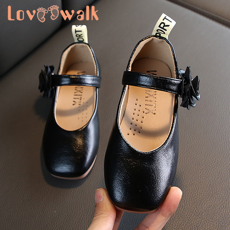 Loveewalk Black White Shoes For Girl Fashion Flower Leather Children Sneakers Girls Flats Princess Kids Dress Shoes Soft Sole