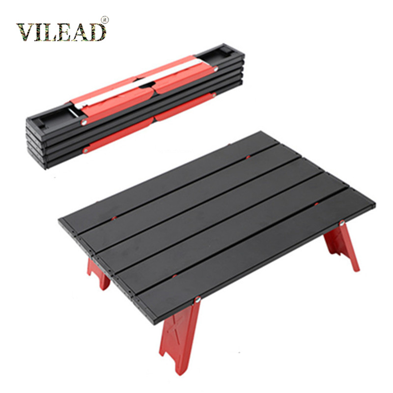 Складной мини-стол VILEAD 41 см, алюминиевый ультрасветильник портативный стол для кемпинга, освещения на открытом воздухе, пикника, кемпинга, д...
