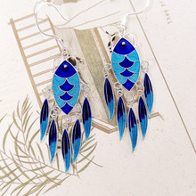 999 Sterling Silver Drop Earrings Tassel Blue Fish Women Ethnic Cloisonne Enamel Earing Vintage Handmade Fine Jewelry Female цена