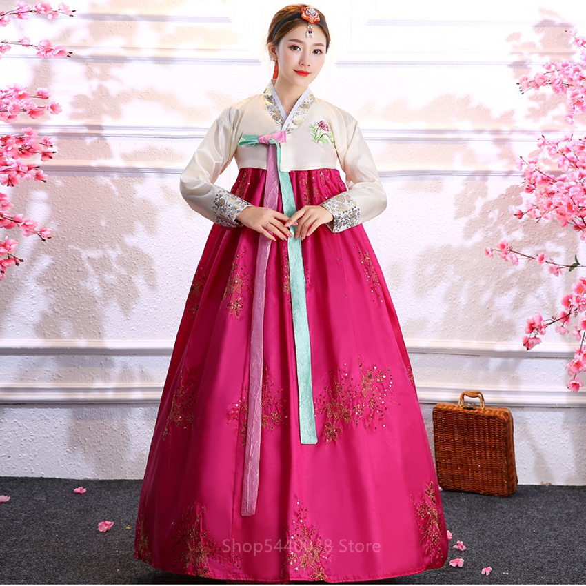 Multicolor Traditional Korean Clothing For Women Court National Costume Hanbok Sequined Stage Dance Dress New Year Party Wear