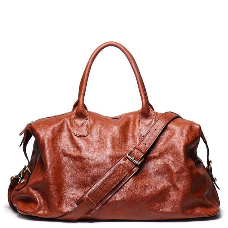 Genuine Leather Travel Handbag Top Quality Business Laptop Duffel Luggage Large Capacity Shoulder Strap Cowhide Leahter GYM Bag