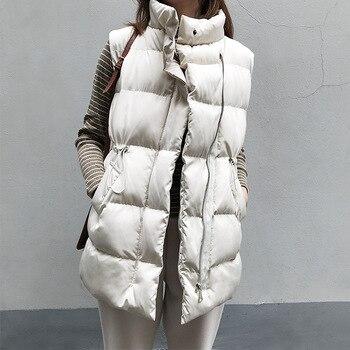 Winter Long Sleeveless Vest Coats Women Stand Neck Slim Cotton Padded Jacket Vests Korean Fashion Zipper Jacket Woman Waistcoat new fashion women female korean short type long sleeve slim motor zipper leather jackets coats