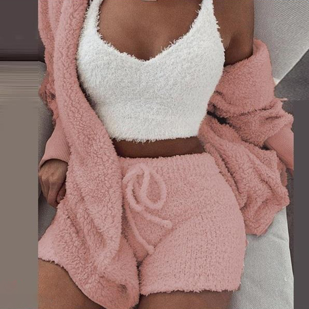 3XL Women Coral Velvet Pajamas Set Autumn Winter Warm Pajamas Three Piece Set Sleepwear Crop Tops Short Pants And Coat