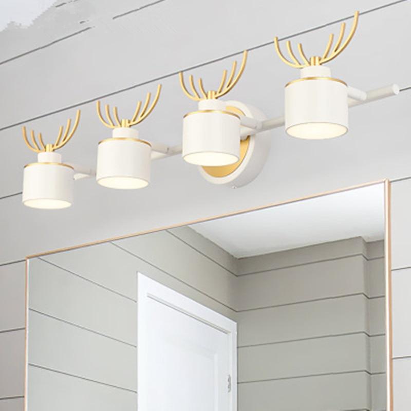 Nouveau minimaliste miroir phares LED toilette créative bois 3 tête appliques personnalisées anti-buée salle de bain luminaires