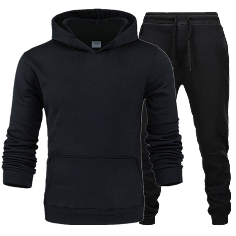 New Style Leisure Suit Men And Women Sports Two-Piece Fleece Hooded Pullover Sports Hoodie Solid Color Sports Clothing