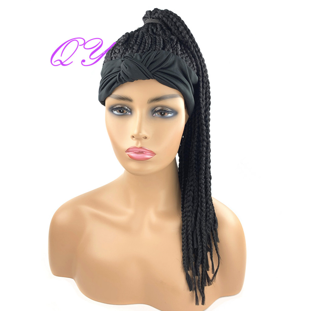 Qy cabelo preto bandana peruca caixa sintética trançado cabeça perucas para africano perucas de cabelo turbante encaracolado