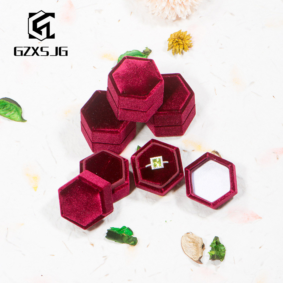 GZ 10PCS/ Lot Velvet Ring Boxes For Wedding Wholesales Hexagon Jewelry Box For Burgundy Vintage Wedding Gifts Single Slot Bearer