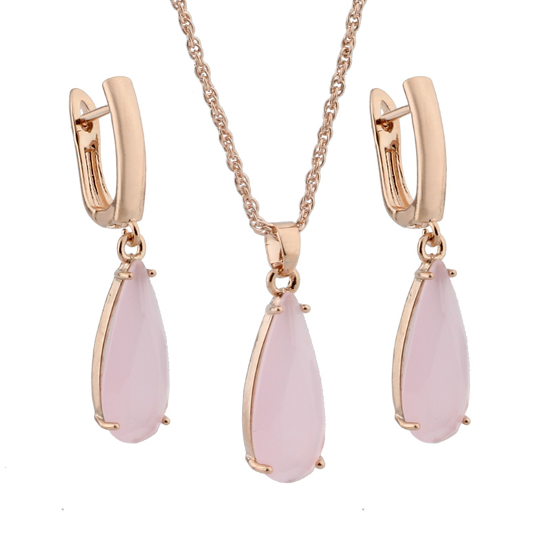 Free Shipping High Quality 585 Rose Gold Earrings And Pendant Jewelry Sets Wedding Party Jewelry Sets For Women Best Gift