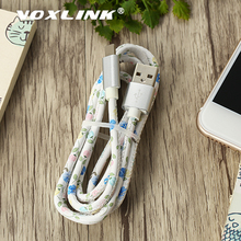 VOXLINK 5V2A 8Pin USB Cable Fast Charging Mobile Phone Cables PU Leather Data Sync Charger for iPhone X C