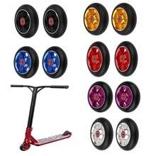 2PCS 100/110mm רב סגנון פעלולים קטנוע אלומיניום גלגלים גבוה אלסטי ללבוש עמיד PU עם 608 ABEC 9 נושאות גלגיליות גלגלים