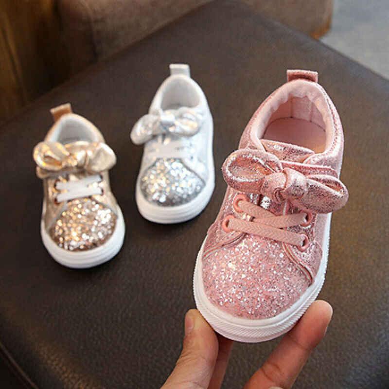 Lindos zapatos casuales para niñas zapatillas de deporte para bebés y niñas, arco de lentejuelas, tendencia de la cuna, zapatos casuales para niños, antideslizante, vestido rosa zapatos