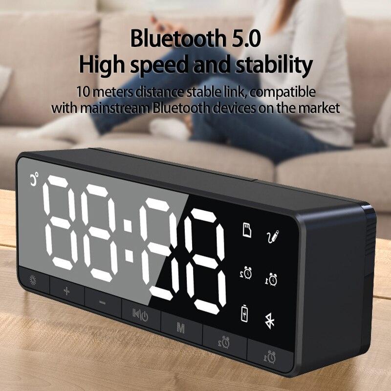 Mirror Bluetooth Speaker Radio Card Clock Alarm Clock Audio Mini Subwoofer Loudspeaker Subwoofer Wireless Small Speaker