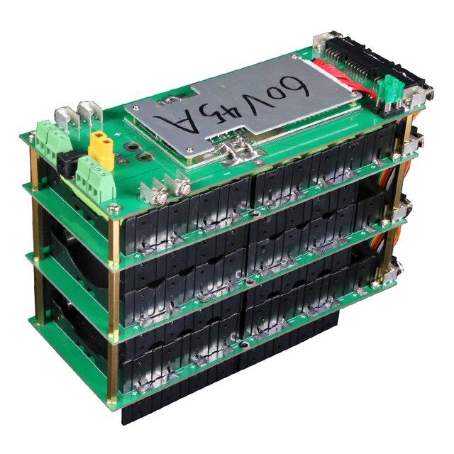 Power Wall 18650 Battery Holder 62V/72V Battery Box Balancer PCM 17s 45A BMS diy Kit 18650 Battery Pack for Ebike Electric Car