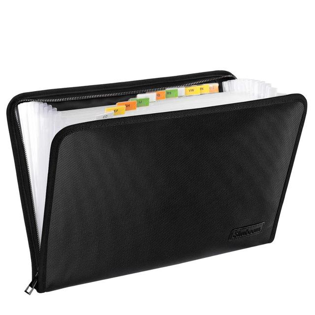 Fireproof Waterproof Document Bag A4 Size Money Bill File Folder Bag 13 Pockets Zipper Closure Silicone Coated Filing Pouch