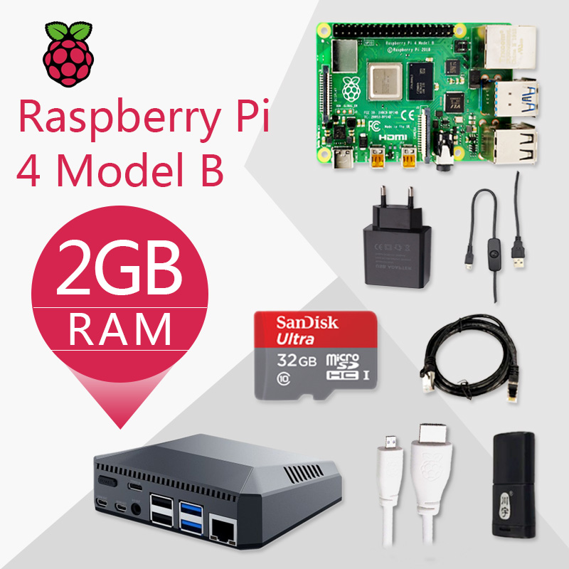 Original Raspberry Pi 4 Model B 2G Kit Pi 4 Board Micro HDMI Cable Power Supply With Switch Case With Fan Heat Sinks