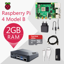 Originele Raspberry Pi 4 Model B 2G Kit Pi 4 Board Micro Hdmi Kabel Voeding Met Schakelaar Case met Ventilator Koellichamen