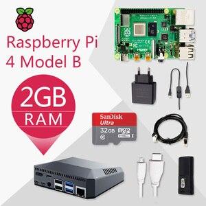 Image 1 - Raspberry Pi 4, Kit B 2G Original de la placa Pi 4, fuente de alimentación de Cable Micro HDMI con caja de interruptor con disipadores de calor del ventilador