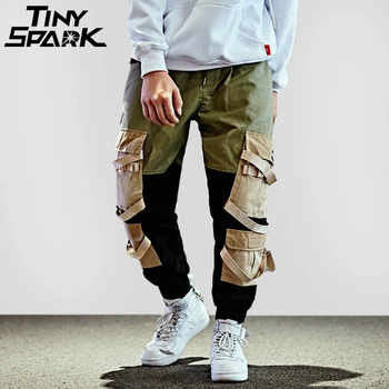 Hip Hop Cargo Pant Streetwear Men Baggy Harem Pant Patchwork Multi Pocket Trousers Casual Tatical Pant Swag Ribbon Harajuku 2018