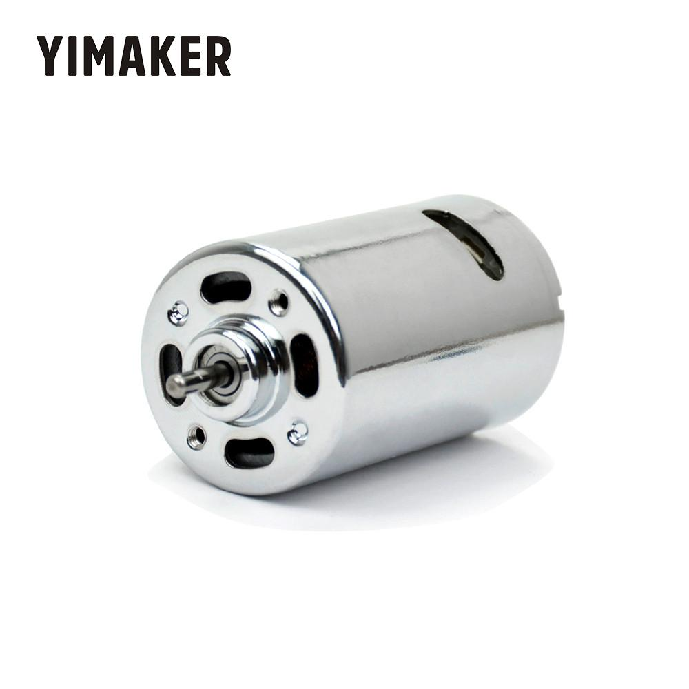 YIMAKER DC Motor Strong Magnetic 555 Double Ball Bearing 12-24V High Torque DIY Electric Drill Electric Mill Model Car Motor