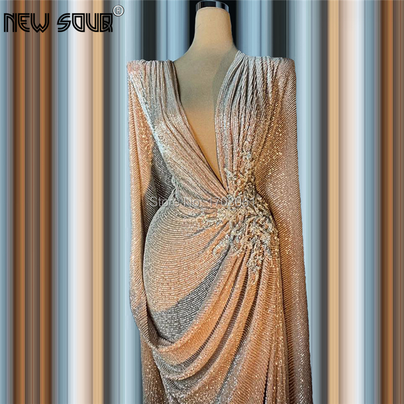 Deep V Neck Formal Prom Dresses Floor Length 2020 Fashion Dubai Party Gown Shiny Beading Prom Dress For Middle East Vestidos