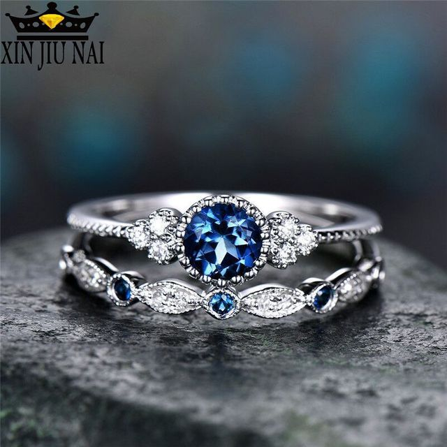 3 Colors Stackable Double Rings Sets For Women 925 Silver Round Green Blue Zircon Stone Engagement Female Birthstone Ring 4