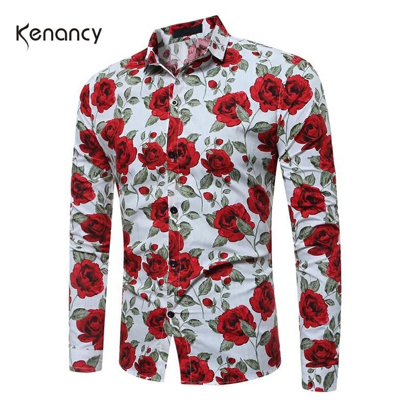 Hemiks Men'S Floral Shirt Spring Stand Collar Long Sleeve Flower Shirt Casual Button Tops Men'S Clothing