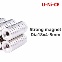 цена на 5/10PCS Super Strong Neodymium Countersunk Ring Magnets 18mm x 4mm Hole 5mm Rare Earth N35 Neodymium magnet 18*4-5mm