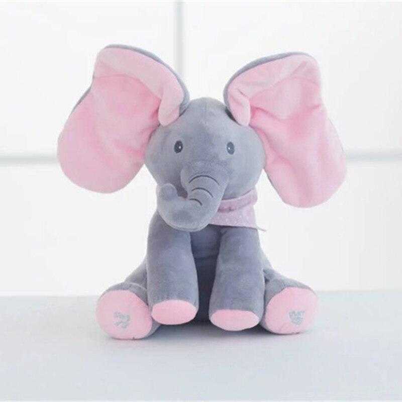 New Peekaboo Elephant Plush Toy Electric Music Shake The Ear Doll Electric Peekaboo Cat Dumbo Children Toy Boy Girl Gift