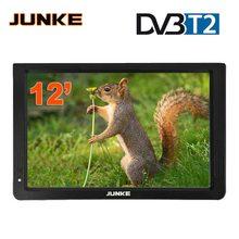 JUNKE HD портативный телевизор 12 дюймов цифровые и аналоговые Led ТВ Поддержка TF карта USB Аудио Видео плеер автомобильный телевизор DVB-T2