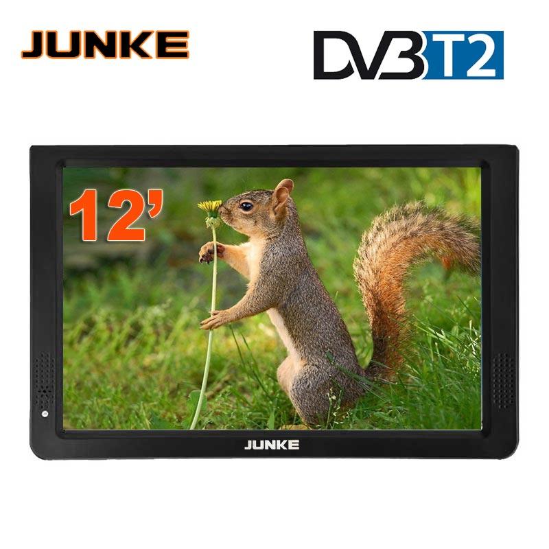 TV Portable JUNKE HD 12 pouces télévisions Led numériques et analogiques prise en charge de la carte TF lecteur Audio vidéo USB DVB-T2 de télévision de voiture
