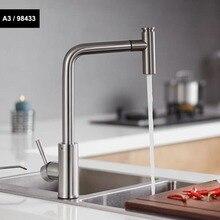 Küche Armaturen Gebürstet Einzigen Handgriff Herausziehen Küche Tap Einzel Loch Griff Swivel 360 Grad Wasser Mischbatterie Mischbatterie