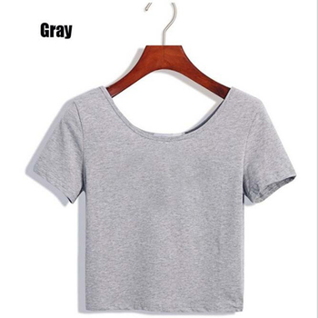 2020 New Women T-shirts Casual Sexy Tops Tee Summer Female T shirt Short Sleeve T shirt For Women Clothing dropshipping - Gray, L