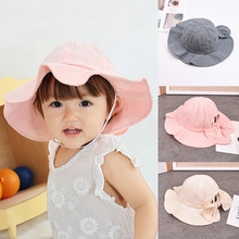 Fashion Cotton Kids Bucket Hats Cute Bows Baby Girl Summer Outdoor Children Beach Sun Visor Cap Solid Color Hat