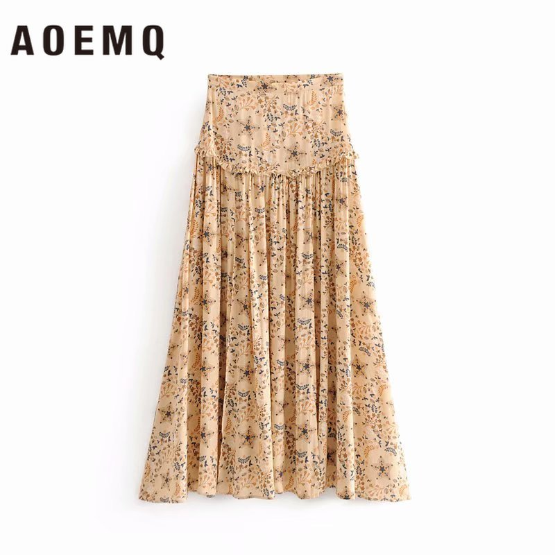 AOEMQ Fashion Bifurcation Skirts Summer Palace Vintage Princess Lady Skirts Floral A-Line Skirts Club Party Women's Clothing