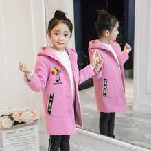 2019 Kids Girl Overcoat Winter New Fashion Wool Coat for Girls Teens Autumn Jacket Warm Long Outerwear Children Windproof(China)