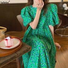 Floral Puff Hülse Kleid Plus Größe Frauen A-Line Grün Maxi Kleider Harajuku Koreanische Lila Vestidos Mujer Verano 2021 Frau Kleid
