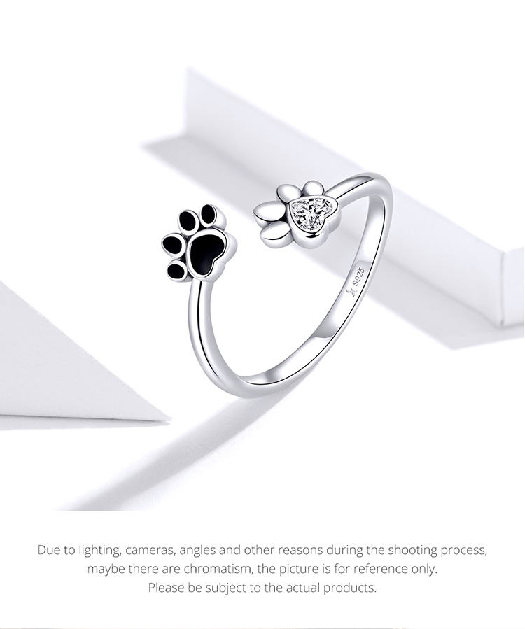 H3e715931542541e1aaa0bb4b374bc2deM - bamoer Sterling Silver 925 Black Enamel Dog Paw Open Adjustable Finger Rings for Women Anti-allergy Jewelry Accessories SCR605