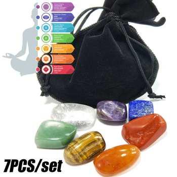 Набор из 7 цветовых кристаллов Seven Chakra, для йоги, неправильной формы, с сумкой