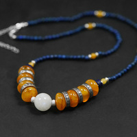 Acecare Handmade beaded women's section amber necklace 925 sterling silver agate