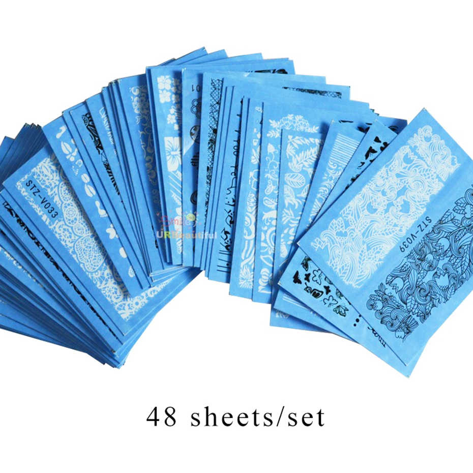 48 pièces/ensemble noir blanc dentelle ongles autocollants beauté Nail Art eau curseurs fleurs vigne papillon complet enveloppes outil BESTZV001-048