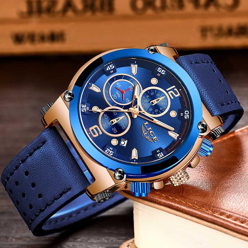 Erkek saatler Top marka lüks mavi kuvars erkek saati deri Chronograph büyük spor kol saati erkek erkek saat Relogio Masculino